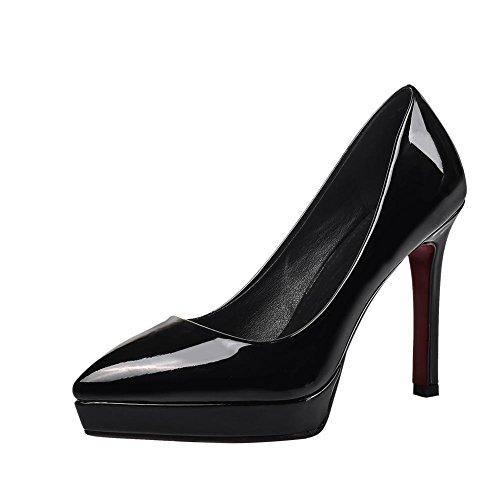 Mee Shoes Damen modern reizvoll populär Stiletto Geschlossen spitz Plateau Pumps Schwarz