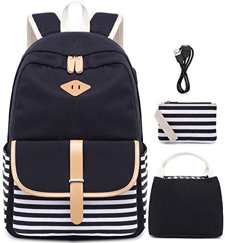 Canvas Rucksack Schultaschen für Mädchen College Laptop Rucksack mit USB Ladeanschluss Student Rucksack Reise Casual Daypacks passt 15,6 Zoll Notebook 3 Packs(schwarz) -