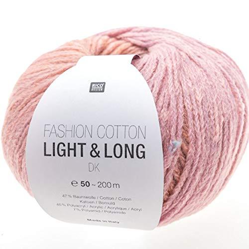 Rico fashion cotton light & long dk fb. 04 lilla rosa antico, filo di cotone con sfumature lunghe e discrete per lavoro a maglia e uncinetto.