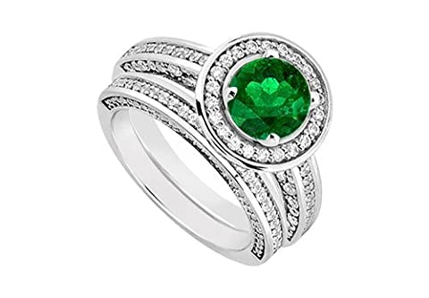 14K White Gold Emerald Diamond Engagement Ring with Wedding Band Sets 1.55 CT TGW