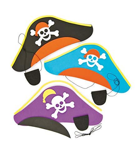 Baker Ross Bastelset - Piratenhut & Augenklappe - für Kinder zum Spielen ideal zum Kindergeburtstag und Karneval - 3 Stück