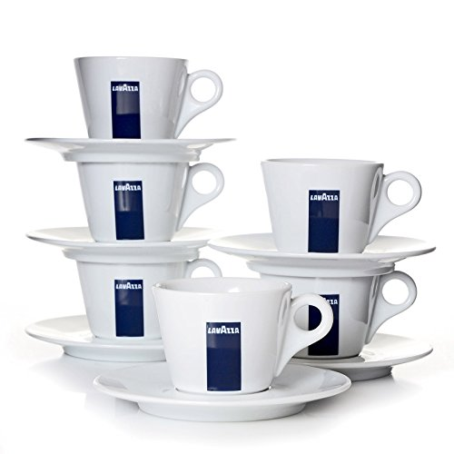 Lavazza Blu Collection Cappuccino Tasse, 6er Pack, Kaffeetasse, Porzellan, Weiß, 165ml, 20002131 (Lavazza Tassen)