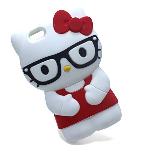 Xzihao Schutzhülle für Handys, Cartoon-Motiv, süße Tier-Brille, Hello Kitty Katze, weiches Silikon, iPhone SE/5s/5s, schwarz