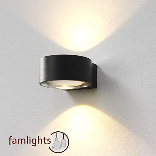 famlights LED-Außenwandleuchte Hudson in anthrazit, up- & down | Innenleuchte & Außenleuchte, Aussenlampe, Gartenleuchte, Balkon, Terrasse | Flurleuchte | Wohnzimmerlampe