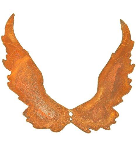 Metallmichl Edelrost Flügel 23cm hoch (groß) schmal nach Oben mit Loch zum Einarbeiten, Engel-Flügel aus rost Metall für innen und außen