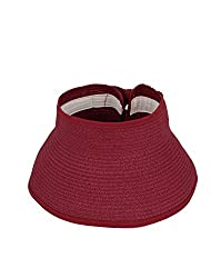 One Size , Red : Women Bowknot Decor Beach Sun Visor Foldable Roll Up Straw Hat