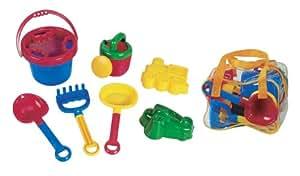 roba 0031 - Sandkastenspielzeug (Eimer mit Sieb, Gießkanne, Schaufel, Rechen, 2 Formen) 7-teilig