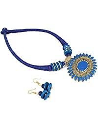 Aradhya Blue Color Designer Tibetan Style Necklace With Earrings For Women And Girls