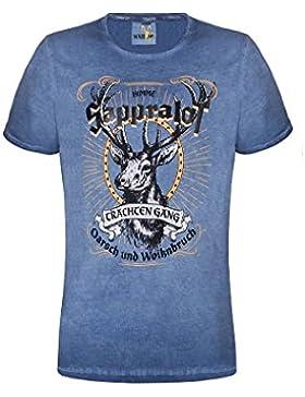 MarJo Moser Trachten Trachtenshirt Blau Sappralot 005139 von, Material Baumwolle