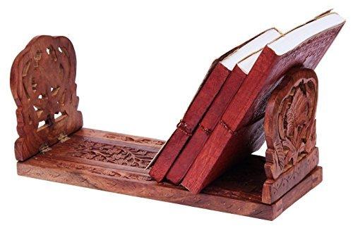 storeindya Hand in Handarbeit gemachtes Palisander-ausdehnbares faltendes Buch und Cd-Standplatz-Zahnstangen-Halter-Regal-Ausgangsdekor-Geschenk-Ideen