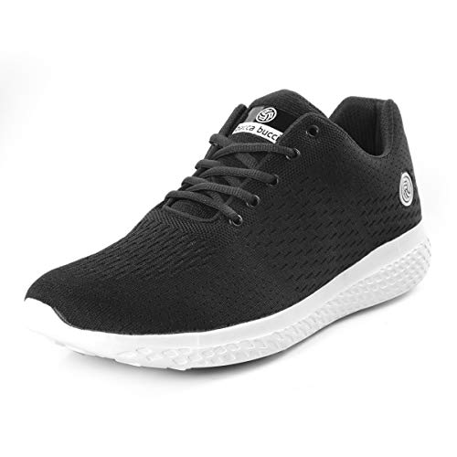 Bacca Bucci® Running Shoes Men Lightweight Fashion Sneakers Walking Footwear Tennis Athletic Shoes Slip-On for Outdoor Sport Gym Jogging Big Size UK-11 to 13/Black