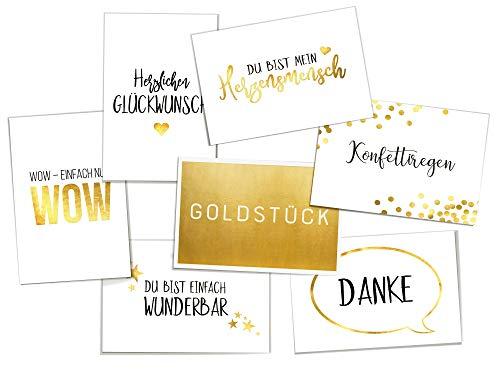 Goldene Postkarten | 7-er Set mit Sprüchen zu Liebe/Freundschaft/Glückwunsch | Als Geschenk oder Deko | Hochwertige DIN A6 Karten | Mit ganz viel Liebe designt - von corners & edges