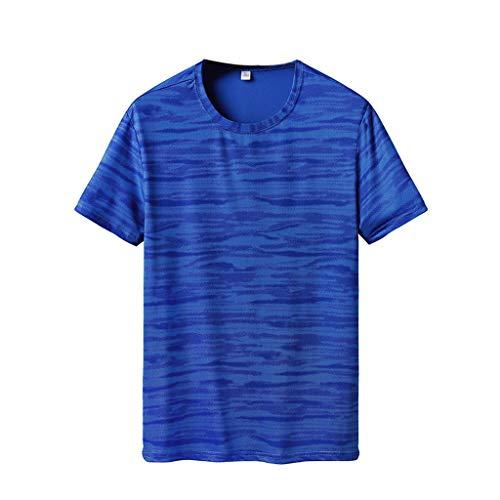 Xmiral tee, t-shirt uomo maglietta manica casual tee shirt camicetta bodybuilding palestra maglia lo sport a maniche corte ideale per workout e allenamento top xxxxl cielo blu