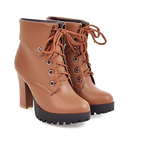d136c89f994 HBDLH-En Otoño E Invierno 11Cm De Tacon Botas British Fashion Aspero Y  Encaje Martin Boots Ladies Short Boots.Treinta Y Ocho Bla