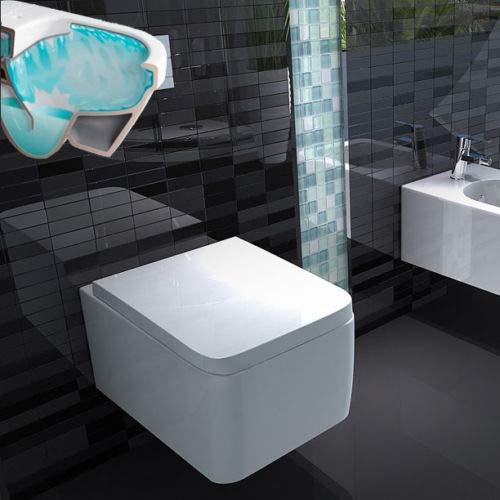 Lux-aqua spülrandlos Wand Hänge Toilette mit Softclose WC Sitz 2122-D, Weiß