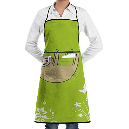 Aprons Sloth Hung Menâ€s Womenâ€s Unisex Barbecue Kitchen Long Aprons Sleeveless Overalls Portable with Pocket for Cooking,Baking,Crafting,Gardening,BBQ