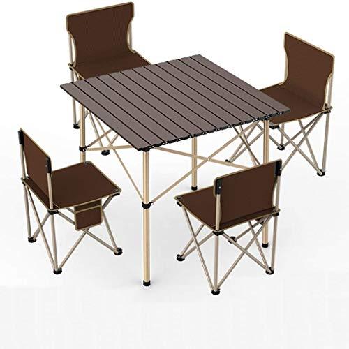 TKOVSKO Mesa de Comedor Plegable Aluminio portátil, Mesa Plegable y 4 sillas Juego portátil al Aire Libre Picnic Jardín Comedor Camping al Aire Libre (Size : B)