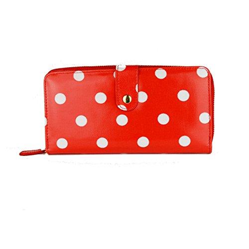 Miss Lulu - Portafoglio con zip in tessuto cerato, motivo a pois Big Polka Dots Red