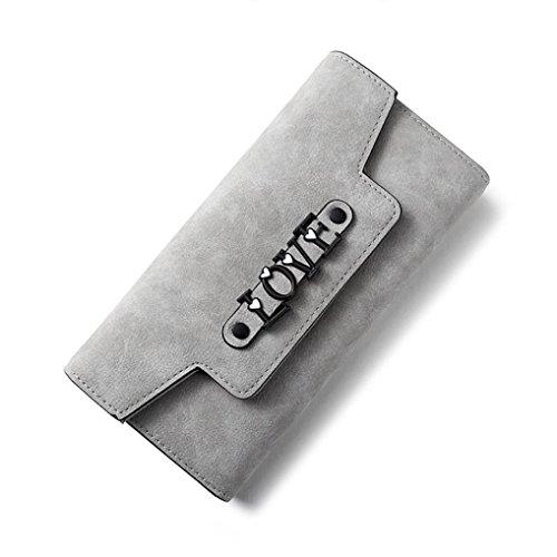 Portafoglio Donna, Tpulling Sacchetto di telefono multifunzionale della borsa della borsa del raccoglitore della borsa di cuoio delle donne (Black) Gray