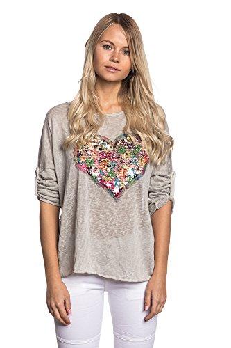 Abbino IG002 Shirts Tops - Made in Italy - Multiplo Colori - Mezza Stagione Primavera Estate Autunno Dinamico Tenerezza Leggero Fascino Semplici Casual Tempo Dolce Flessibile Giovani Grigio (Art. 7133-12a)