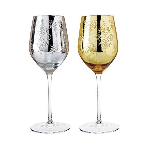 ZHUANGSHI 2 STÜCKE Luxus golden und Silber Geschnitzte kristall weinglas in Paar für Party...