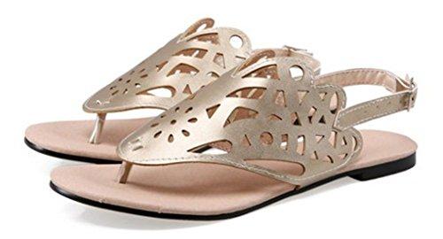 Aisun Damen Modisch Süß Neuheit Slingback Künstlich PU Sandale Gold