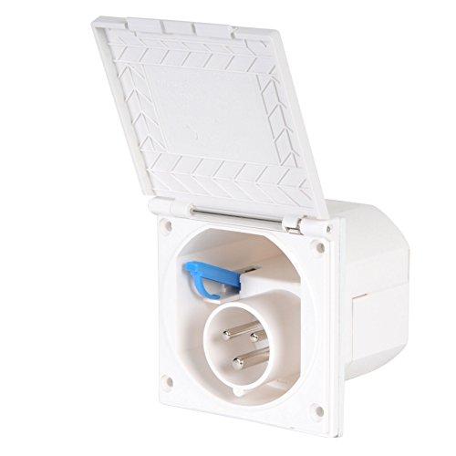 Preisvergleich Produktbild CEE Aussensteckdose weiß Spritzwasser geschützt 200-240V,  16A,  3 polig IP44