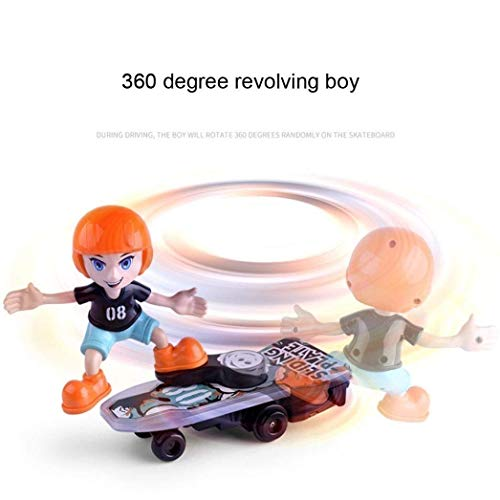 Cartoon Electric Stunt Scooter Skateboard by Flick In | Light & Music | Children's Funny Toy Sliding Plate