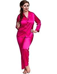 0c6d80289f Ladies Adult Sexy Satin Long Sleeve Pyjamas Set Black Hot Pink White Sizes  8 to 26 Plus Size Nightshirt PJ Lingerie…