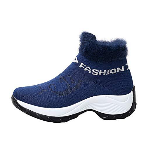 Toamen Intrecciata Piatto Piattaforma Sneaker Scarpe Inverno più Velluto Felpa Morbido Maglieria Caldo da Donna Allacciare Cotone La Neve Stivali Scivolare su(Nero,39)
