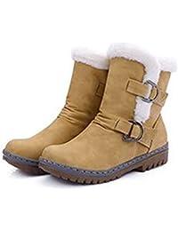 JUWOJIA Las Mujeres Botas De Nieve De Invierno Cálido Plana Zapatos De Moda,Amarillo,39