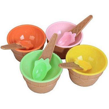 JY$ZB plastica gelato ciotole cucchiai per bambini impostati durevole coppa gelato (colore casuale) - Forcella Coppa