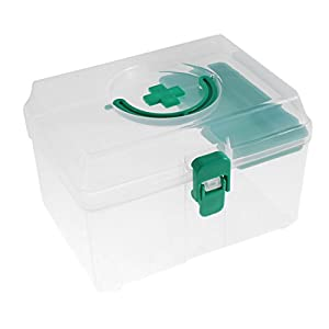 Sourcingmap Plastic Medicine Pill Storage First Aid Case Box Container Green Clear