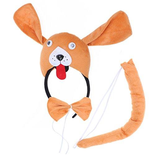 tüme Hund Kopf Stirnband mit Ohren Tier Schwanz Fliege für Cosplay Halloween Party Favors 3 Stück ()