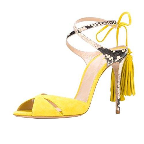ENMAYER Frauen Cross Straps High Heels Lace-up Peep Toe Solid Casual Party Schuhe für Frauen Stiletto Sommer Schuhe Sandalen Gelb