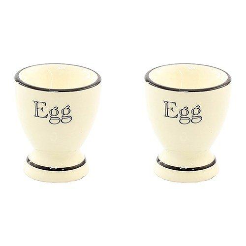 Cottage–Juego de utensilios de cocina de 2tazas de huevera de cerámica, color crema y negro