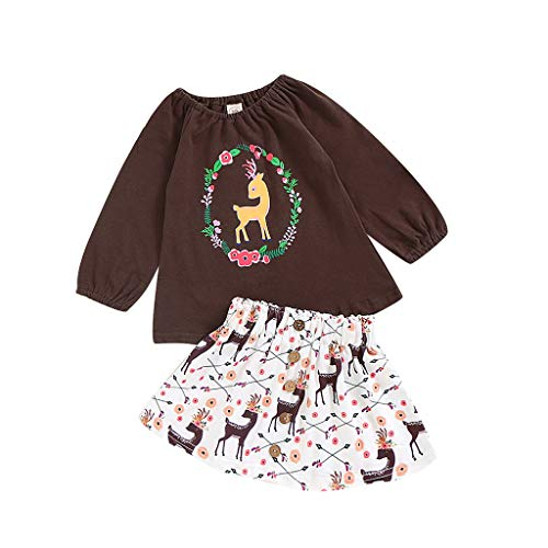 Caerling 2er Pack Baby Mädchen Stilvoll Tops und Hose Set Kinder Kitz Drucken Oberteile und Hosenanzug Kindermode für Mädchen