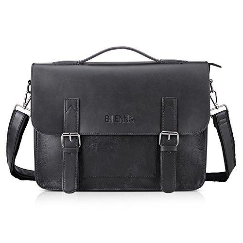 - 41QkYq 2BGnPL - Messenger Bag, Mens PU Leather Briefcase Vintage Shoulder Bag Handbag Cross body Bag Satchel for Laptop 14″ inch With Adjustable Strap for Men Women Work Office Business School Travel -Black