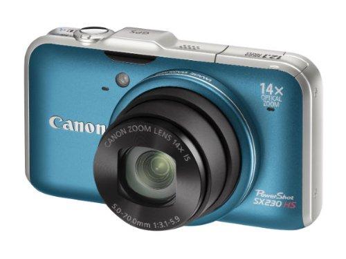 Canon PowerShot SX230 HS Digitalkamera (12 Megapixel, 14-fach opt. Zoom, 7,6 cm (3 Zoll) Display, Full HD, GPS, bildstabilisiert) blau