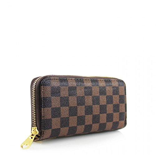 - 41QkZFWWJIL - Ladies Faux Leather Double Zip Single Zip Designer Coin Purse Waller Card Holder (Single Zip, Brown)