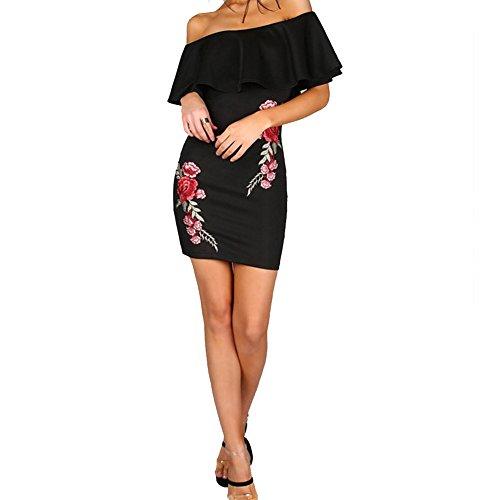 Gewaschenes Leinen Blazer (broadroot Frauen Sommer Stickerei Kleid Off Schulter Slim einteiligen Kleid (schwarz, L))