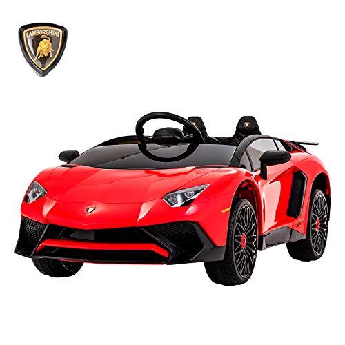 UEnjoy Lamborghini Aventador Kinderauto Elektro 12V Kinderfahrzeug Elektronisch kampatibel mit Fernbedienung, LED-Leuchten,Rollenaufhängung,AUX in,Rot (Kinder Elektronische Auto)