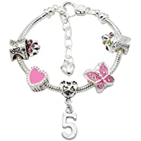 Jewellery Hut Girl's Silver Plated Birthday Charm Bracelet with Gift Pouch - Ages 1-11 Available