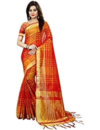 Trendy Store Silk Checkered Print Red Colour Silk Saree With Blouse Piece