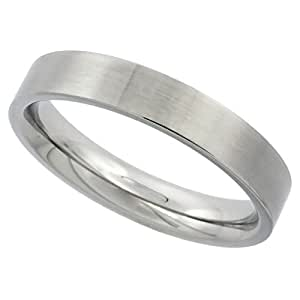 Surgical Steel 4mm Comfort Fit Wedding Band Thumb Ring Matte Finish,