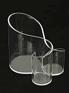 Large Wave Acrylic Makeup Brush and Cosmetic Holder Organizer, Clear