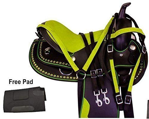 "Manaal Enterprises Youth Child Synthetic Western Pony Miniature Horse Saddle Tack Get Matching Headstall, Breast Collar & Saddle Pad Size 10"" to 12\"" Inches Seat Available (11.5 Inches Seat, Green)"