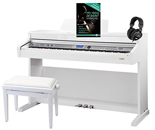 Classic-Cantabile-DP-A-410-WH-E-Piano-Set-inkl-Bank-Kopfhrer-und-Schule-Digitalpiano-mit-Hammermechanik-88-Tasten-600-Voices-Kopfhreranschluss-USB-Begleitautomatik-Aufnahmefunktion-3-Pedale-inkl-Noten