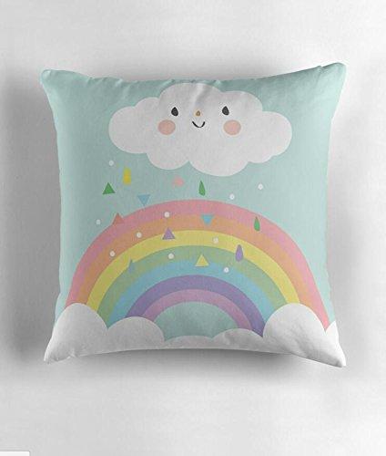 Hiaopp - Funda de Cojín con Diseño de Arcoíris y Nube Feliz, Diseño de Pastel de Lluvia y Sol