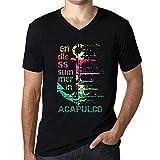 Herren Tee Männer Vintage V-Ausschnitt T shirt Summer In ACAPULCO Schwarz